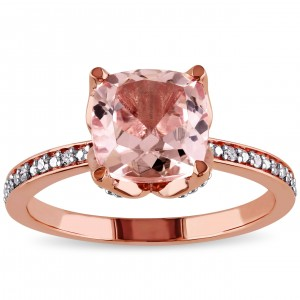 Signature Collection Rose Gold Morganite and Diamond Accent Engagement Ring - Custom Made By Yaffie™