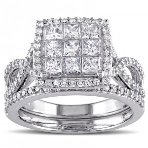 Signature Collection White Gold 1 1/ 2ct TDW Diamond Bridal Ring Set - Custom Made By Yaffie™