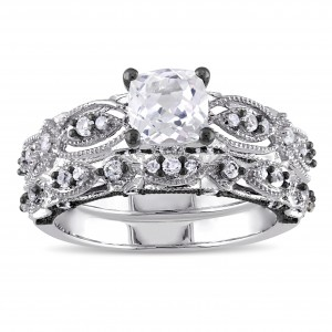 Signature Collection White Gold Created White Sapphire and 1/10ct TDW Diamond Bridal Ring - Custom Made By Yaffie™