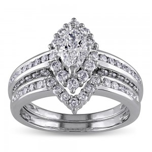 Signature Collection Gold 1 1/2ct TDW Marquise Halo Diamond Bridal Set - Custom Made By Yaffie™