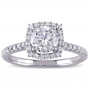 Signature Collection White Gold 1 1/2ct TDW Diamond Halo Engagement Ring - Custom Made By Yaffie™