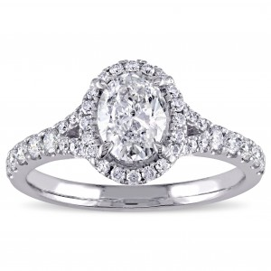 Signature Collection White Gold 1 1/2ct TDW Diamond Oval Halo Engagement Ring - Custom Made By Yaffie™