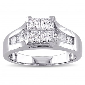 Signature Collection White Gold 1 1/3ct TDW Princess-cut Diamond Quad Engagement Ring - Custom Made By Yaffie™