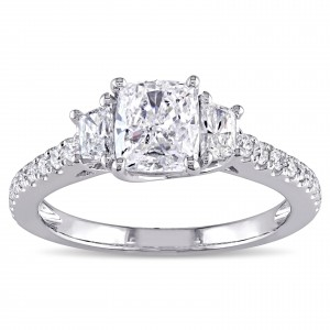 Signature Collection White Gold 1 2/5ct TDW Cushion-cut Diamond 3-stone Engagement Ring - Custom Made By Yaffie™