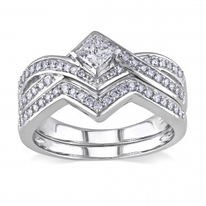 Signature Collection White Gold 5/8ct TDW Diamond Bridal Ring Set - Custom Made By Yaffie™