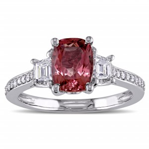Signature Collection White Gold Pink Tourmaline and 3/4ct TDW Diamond 3-Stone Engagement Ring - Custom Made By Yaffie™