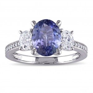 Signature Collection White Gold Tanzanite and 5/8ct TDW Oval and Round Diamond Engagement Ring - Custom Made By Yaffie™