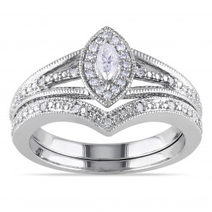 Sterling Silver 1/3ct TDW Diamond Bridal Ring Set - Custom Made By Yaffie™