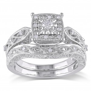 Sterling Silver 1/5ct TDW Diamond Milgrain Bridal Ring Set - Custom Made By Yaffie™