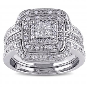 Sterling Silver 3/8ct TDW Diamond Princess-cut Halo 3-piece Bridal Ring Set - Custom Made By Yaffie™