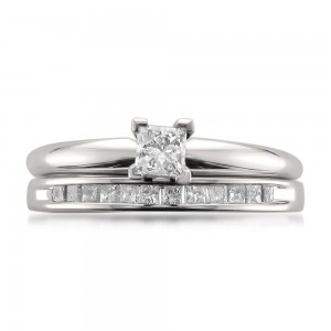 White Gold 1/2ct TDW Princess-cut Solitaire Diamond Engagment Ring and Wedding Band Bridal Set - Custom Made By Yaffie™