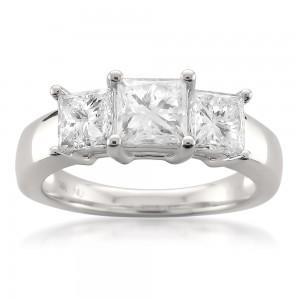 White Gold 2ct TDW Princess-cut 3-Stone White Diamond Engagement Ring - Custom Made By Yaffie™