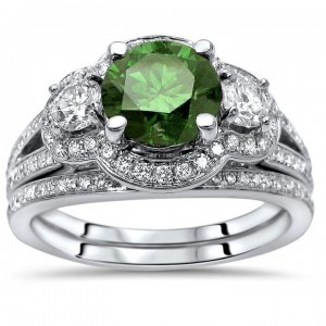 1 1/2ct Green Round Diamond 3 Stone Engagement Ring Bridal Set White Gold - Custom Made By Yaffie™