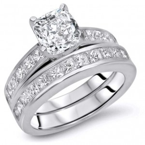 Gold 2 7/8ct TDW Cushion-cut Diamond Enhanced Engagement Ring Set - Custom Made By Yaffie™