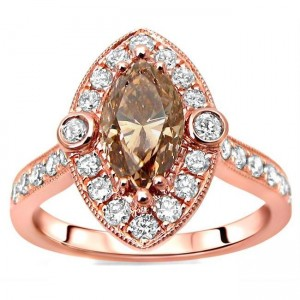 Rose Gold 1 1/2ct TDW Marquise Brown Diamond Engagement Ring - Custom Made By Yaffie™