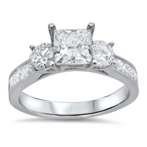 White Gold 1 3/4ct TDW Princess Cut Diamond Clarity Enhanced 3 Stone Engagement Ring - Custom Made By Yaffie™