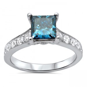 White Gold 1 3/5 CT Blue Princess-cut Diamond Engagement Ring - Custom Made By Yaffie™