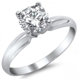 White Gold 1/2ct TDW Round Solitaire Diamond Engagement Ring - Custom Made By Yaffie™
