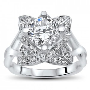 White Gold 2ct TGW Round Moissanite Lotus Flower and 2/5ct TDW Diamond Engagement Ring - Custom Made By Yaffie™
