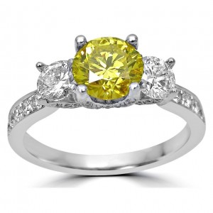 Gold 1 1/2ct Canary Yellow and White Round Diamond Three Stone Engagement Ring - Custom Made By Yaffie™