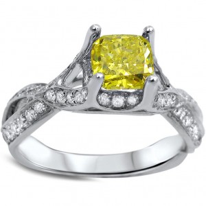 White Gold 1 1/4ct Canary Yellow Radiant-cut Diamond Engagement Ring - Custom Made By Yaffie™
