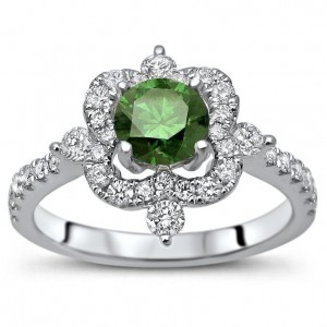 White Gold 1 1/4ct TDW Green Round Diamond Engagement Ring - Custom Made By Yaffie™