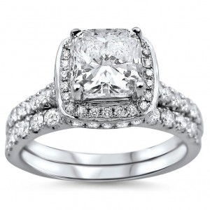 White Gold 1 5/8ct TDW Cushion-cut Diamond Clarity Enhanced Bridal Ring Set - Custom Made By Yaffie™