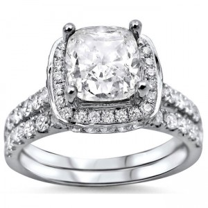 White Gold 2ct Cushion-cut White Diamond Clarity Enhanced Engagement Ring Bridal Set - Custom Made By Yaffie™