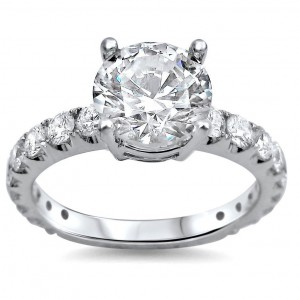 White Gold 2ct TDW Round Clarity-enhanced Diamond Engagement Ring - Custom Made By Yaffie™