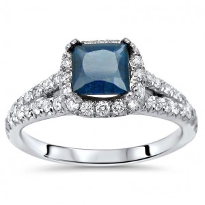 White Gold Princess-cut Blue Sapphire and 5/8ct TDW Diamond Engagement Ring - Custom Made By Yaffie™