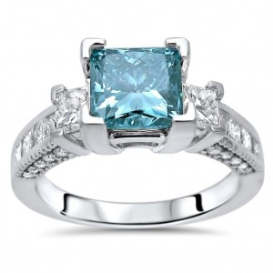 2 1/2 Blue Princess Cut Diamond Engagement White Gold - Custom Made By Yaffie™