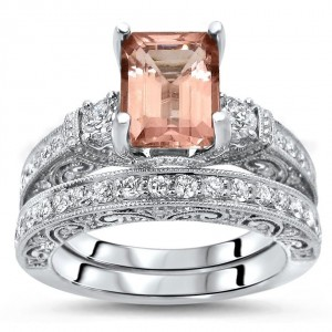 2 4/5 TGW Emerald Morganite Diamond 3 Stone Engagement Ring Set White Gold - Custom Made By Yaffie™