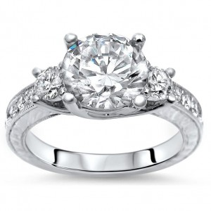 CollectionWhite Gold 2 1/3ct TGW Moissanite Diamond 3 Stone Engagement Ring - Custom Made By Yaffie™