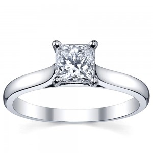 Platinum 1ct TDW White Princess Diamond Solitaire Engagement Ring - Custom Made By Yaffie™