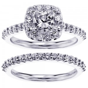 Platinum or Gold 2 1/10ct TDW Clarity-enhanced Diamond Bridal Ring Set - Custom Made By Yaffie™