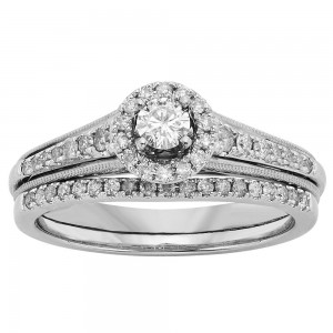 White Gold 1/2ct TW Diamond Bridal Set - Custom Made By Yaffie™