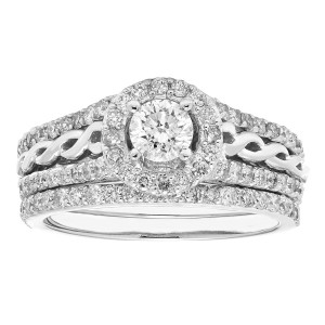 White Gold 1-carat Total Diamond Weight IGL Certified Round-cut Bridal Set - Custom Made By Yaffie™