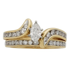 Gold 1ct TDW IGL Certified Marquise Diamond Bridal Set - Custom Made By Yaffie™