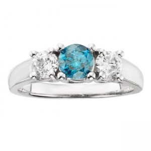 Gold 1ct TDW IGL Certified Three Stone Blue and White Diamond Ring - Custom Made By Yaffie™
