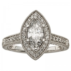 White Gold 1 1/2ct TDW Marquise Diamond Halo Ring - Custom Made By Yaffie™