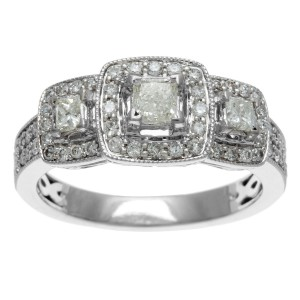 White Gold 1ct TDW IGL Certified Three Stone Princess Cut Diamond Engagement Ring - Custom Made By Yaffie™