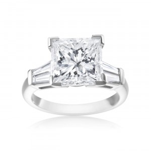 Platinum 5 1/2ct TDW Princess-cut and Tapered Baguette Diamond Ring - Custom Made By Yaffie™