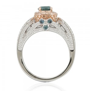 Two-Tone Gold 1 3/8ct TDW Greenish Blue/ White Diamond Engagement Ring - Custom Made By Yaffie™