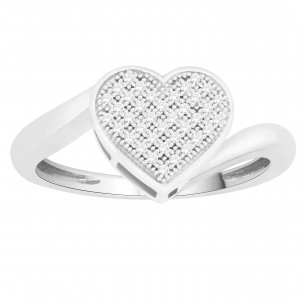 White Gold 1/6ct TDW Diamond Heart-shape Engagement Ring - Custom Made By Yaffie™