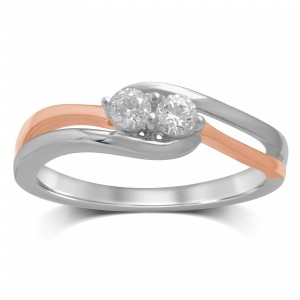 White/Rose Gold Diamond Fashion Ring - Custom Made By Yaffie™