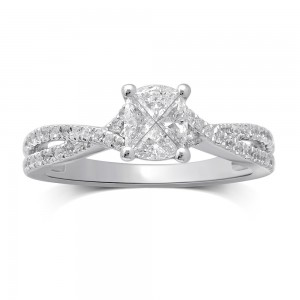 White Gold 3/4ct TDW Invisible Cushion-cut Diamond Fashion Ring - Custom Made By Yaffie™