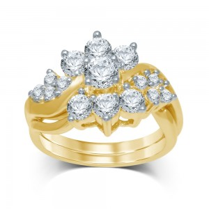 Gold 2ct TDW Diamond Flower Bridal Ring - Custom Made By Yaffie™