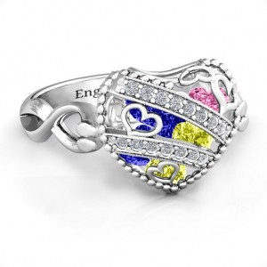 Personalised Sparkling Diamond Hearts Caged Hearts Ring with Infinity Band - Custom Made By Yaffie™