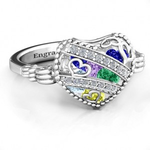 Personalised Sparkling Diamond Hearts Caged Hearts Ring with Butterfly Wings Band - Custom Made By Yaffie™