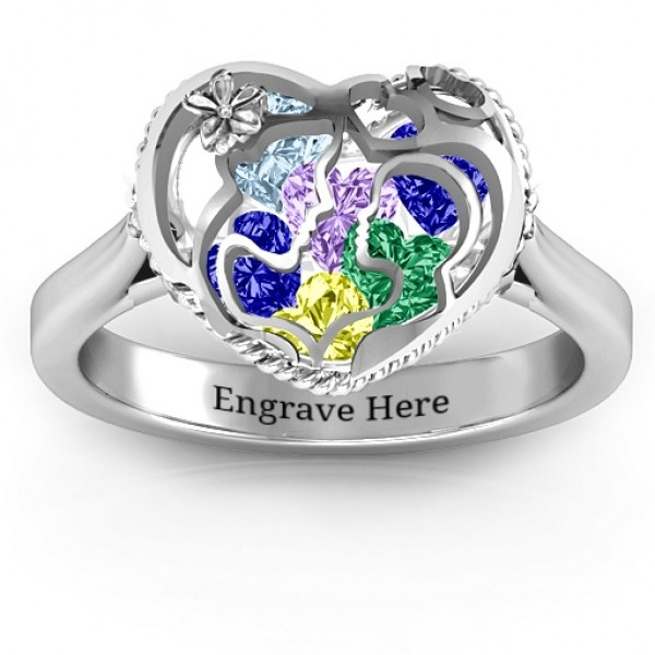 Personalised Mother and Child Caged Hearts Ring with Ski Tip Band - Custom Made By Yaffie™